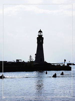 Photograph - Buffalo Main Lighthouse And Jet Skiers by Rose Santuci-Sofranko