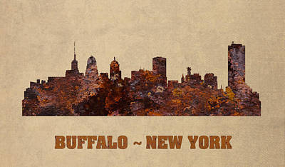 New York Skyline Mixed Media - Buffalo New York City Skyline Rusty Metal Shape On Canvas by Design Turnpike
