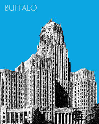 Buffalo Art Digital Art - Buffalo New York Skyline 1 - Ice Blue by DB Artist