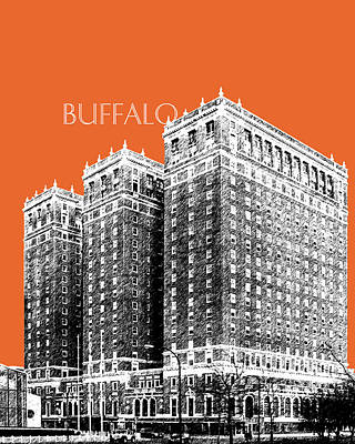 Buffalo Art Digital Art - Buffalo New York Skyline 2 - Coral by DB Artist