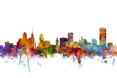 New York State Digital Art - Buffalo New York Skyline by Michael Tompsett