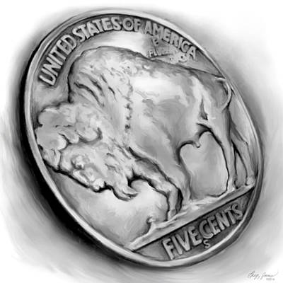 Mixed Media Rights Managed Images - Buffalo Nickel 2 Royalty-Free Image by Greg Joens