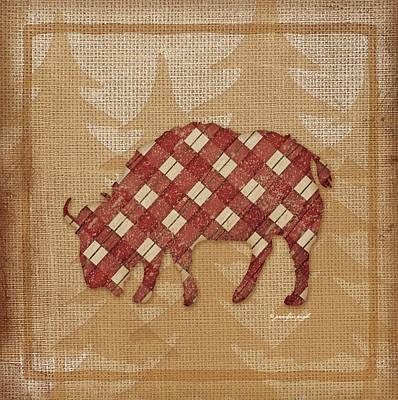 Bison Painting - Buffalo Plaid by Jennifer Pugh