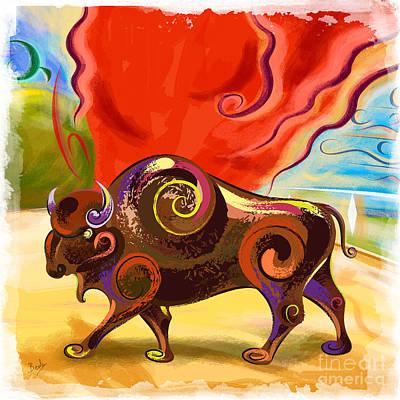 Cape Buffalo Painting - Buffalo Rage by Bedros Awak