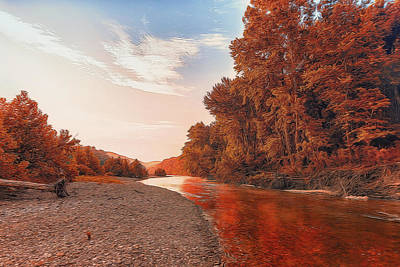 Buffalo River Painted Red Art Print by Bill Tiepelman