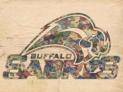 Nhl Painting - Buffalo Sabres Poster Art by Florian Rodarte