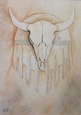 Painting - Buffalo Shield by Richard Faulkner