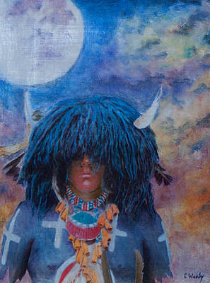 Buffalo Snow Moon Prayers Art Print by Carla Woody