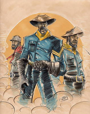 People Mixed Media - Buffalo Soldiers by Tu-Kwon Thomas