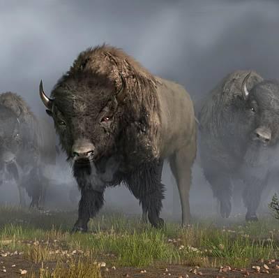 Bison Digital Art - Buffalo Vanguard by Daniel Eskridge
