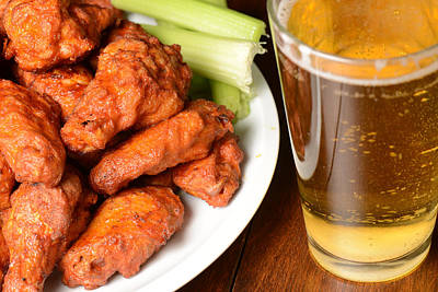 Beer Royalty-Free and Rights-Managed Images - Buffalo Wings with Celery Sticks and Beer by Brandon Bourdages