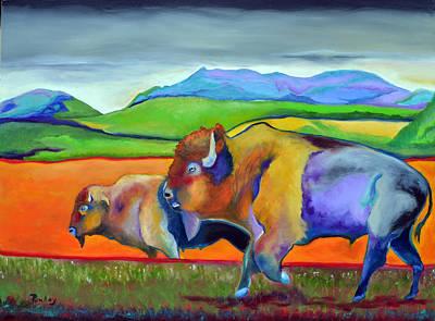 Buffalo Painting - Buffaloes Roaming by Robert Pankey