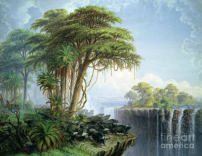 Victoria Falls Painting - Buffalos Driven To The Edge Of The Chasm Opposite Garden Island Victoria Falls by Thomas Baines