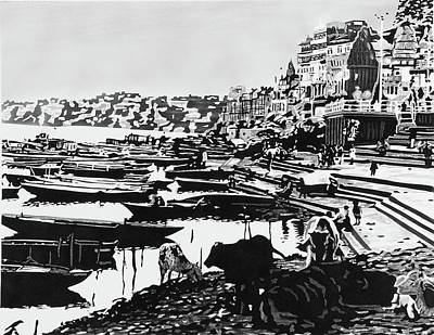 Buffalos In The Ganges Art Print
