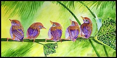 Painting - Bug Eaten Leaf And Five Friends by Sonali Sengupta