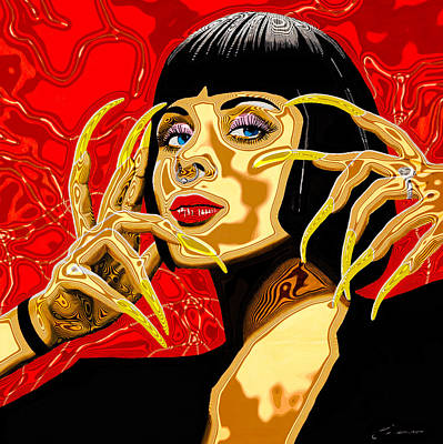 Borg Painting - Bug Lady # 3 Psychedelic by Joe Ciccarone