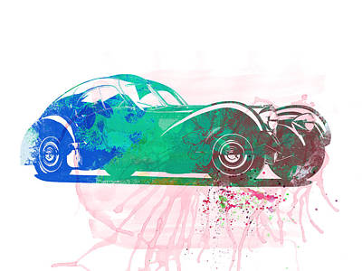 Bugatti Vintage Car Photograph - Bugatti Atlantic Watercolor 1 by Naxart Studio
