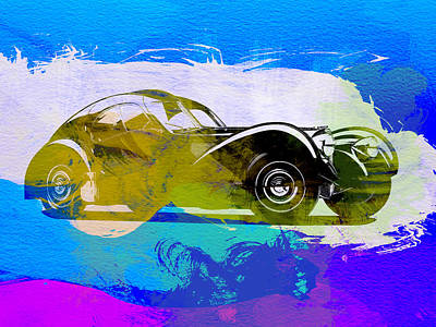 Bugatti Painting - Bugatti Atlantic Watercolor 2 by Naxart Studio
