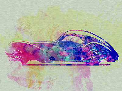 American Cars Drawing - Bugatti Atlantic Watercolor 3 by Naxart Studio