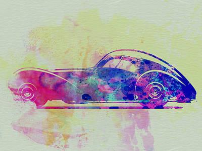Old Car Drawing - Bugatti Atlantic Watercolor 3 by Naxart Studio