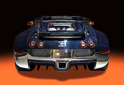 Photograph - Bugatti Luxury Sport Car Back View by Radoslav Nedelchev