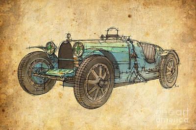 Rock And Roll Drawings - Bugatti by Drawspots Illustrations