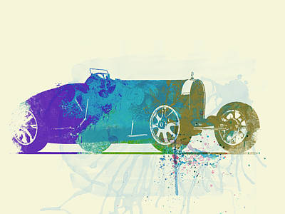Bugatti Vintage Car Photograph - Bugatti Type 35 R Watercolor by Naxart Studio