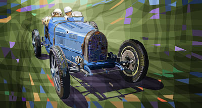 Blues Digital Art - Bugatti Type 35 by Yuriy Shevchuk
