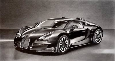 Super Cars Drawing - Bugatti Veyron by Darryl Linquist