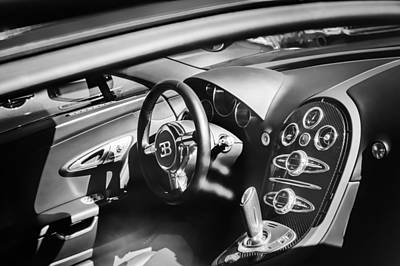 Photograph - Bugatti Veyron Legend Steering Wheel -0484bw by Jill Reger