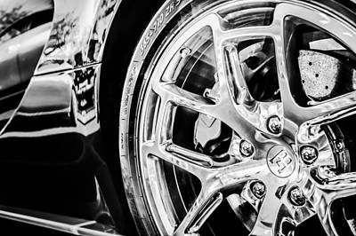 Photograph - Bugatti Veyron Legend Wheel -0532bw by Jill Reger