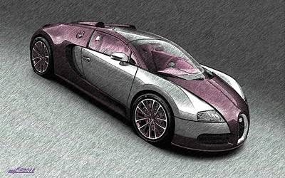 Super Cars Drawing - Bugatti Veyron by Maciek Froncisz