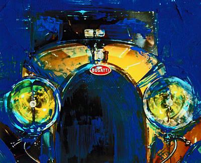 Mixed Media - Bugatti Vintage Blue by Walter Fahmy