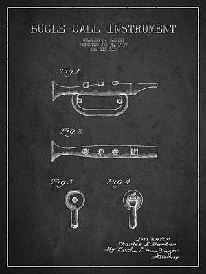 Trumpet Digital Art - Bugle Call Instrument Patent Drawing From 1939 - Dark by Aged Pixel