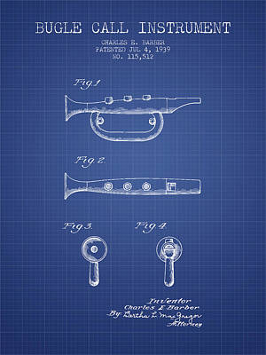 Trumpet Digital Art - Bugle Call Instrument Patent From 1939 - Blueprint by Aged Pixel