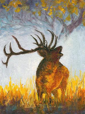 Painting - Bugling Elk by Karen Mattson