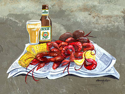 Crawfish Painting - Bugs And Beer by Elaine Hodges