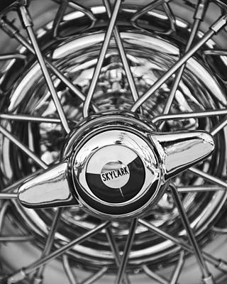 Buick Skylark Wheel Black And White Art Print