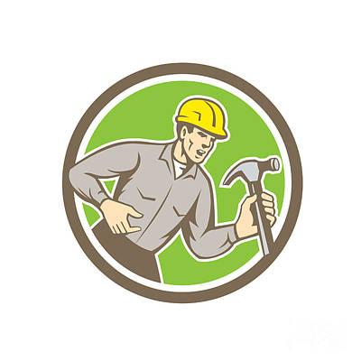 Builder Carpenter Shouting Hammer Circle Retro Art Print by Aloysius Patrimonio