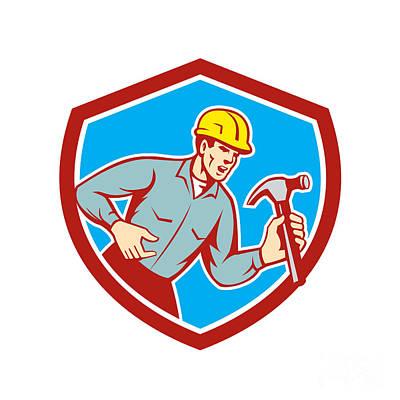 Builder Carpenter Shouting Hammer Shield Retro Art Print by Aloysius Patrimonio