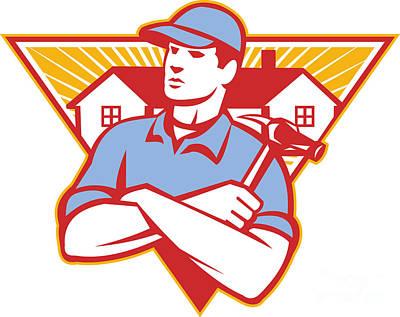 Builder Construction Worker Hammer House Art Print by Aloysius Patrimonio