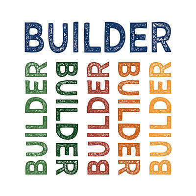 Builder Cute Colorful Art Print