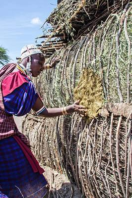 Building A Maasai Hut Art Print by Photostock-israel