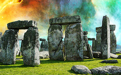Hubble Telescope Painting - Building A Mystery - Stonehenge Art By Sharon Cummings by Sharon Cummings
