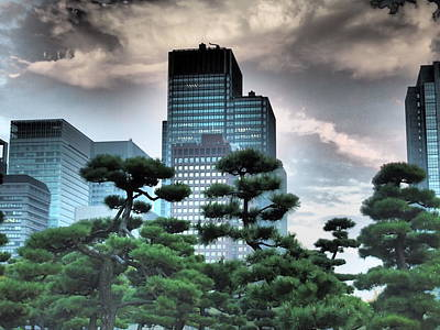 Tokyo Skyline Digital Art - Building And Trees by Dewy Van Tol