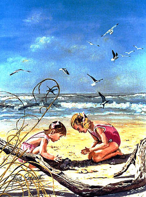 Kids Playing In Sand Painting - Building Castles by Ruth Bodycott