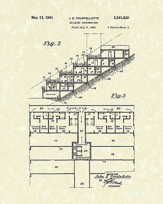 Building Construction 1941 Patent Art Art Print by Prior Art Design
