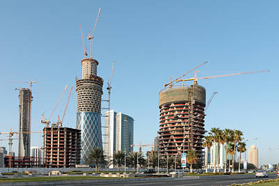 Ambition Photograph - Building Doha Tower By Tower by Paul Cowan