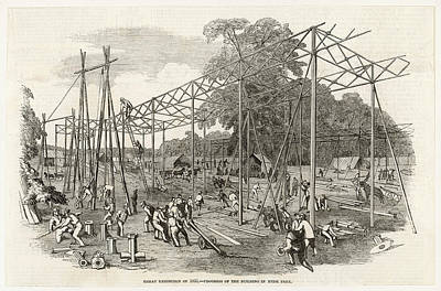 Hyde Park Drawing - Building In Progress In Hyde  Park by  Illustrated London News Ltd/Mar