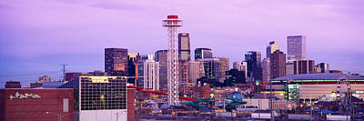 Colorado Flag Photograph - Building Lit Up At Dusk, Denver by Panoramic Images